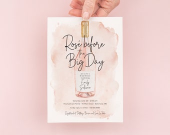 Rosé Before the Big Day Invitations - Rosé All Day Bridal Shower Invitation - Brunch with the Bride - Rosé Party - Pink Bridal Shower