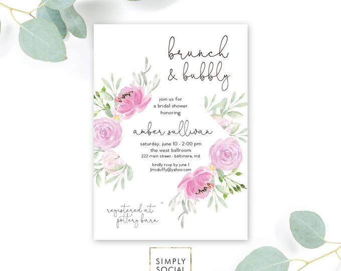 Purple Floral Brunch and Bubbly Bridal Shower Invitation - Garden Shower - Peony Roses Lilac Lavender Invitation Watercolor Printable