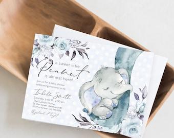 Blue Elephant Floral Baby Shower Invitation - Blue Flowers - Little Peanut - Peony Roses Greenery Invitation Watercolor Printable