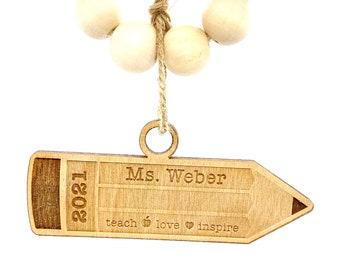 Teacher's Gift, Teacher Christmas Gift, Gift for Teacher, Personalized Pencil Ornament, End of Year Teacher Gift, Custom Christmas