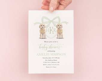 Golden Doodle Invitations - Puppy Theme Party - Preppy Watercolor Crest - Sage Green - Monogram Bow Baby Shower Invites - Gender Neutral