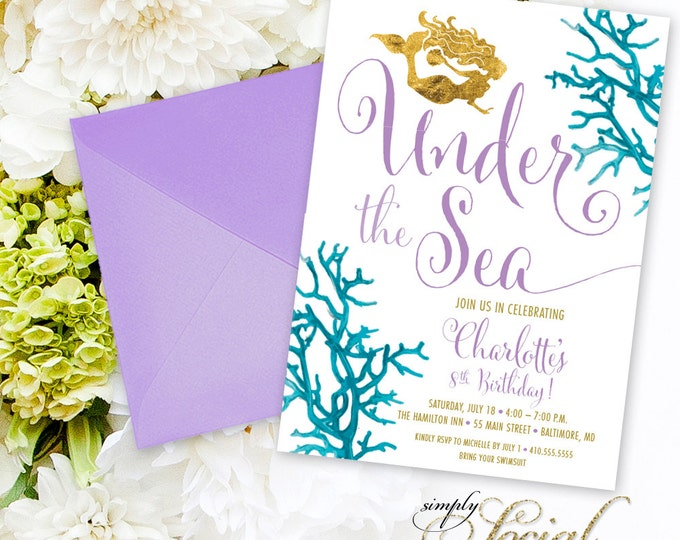 Under the Sea Mermaid Birthday Party Invitation - Boho Swimming Party Invitation Purple Coral Faux Gold Foil Beach Invitation Watercolor