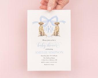 Preppy Watercolor Crest Yellow Labrador Retriever Blue Monogram Bow Baby Shower Invitation