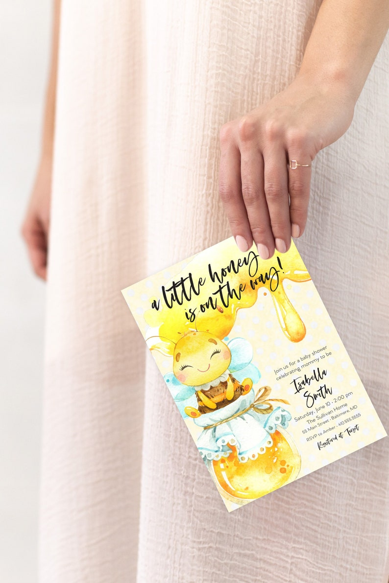 Honey Bee Baby Shower Invitation  A Little Honey is on the image 0