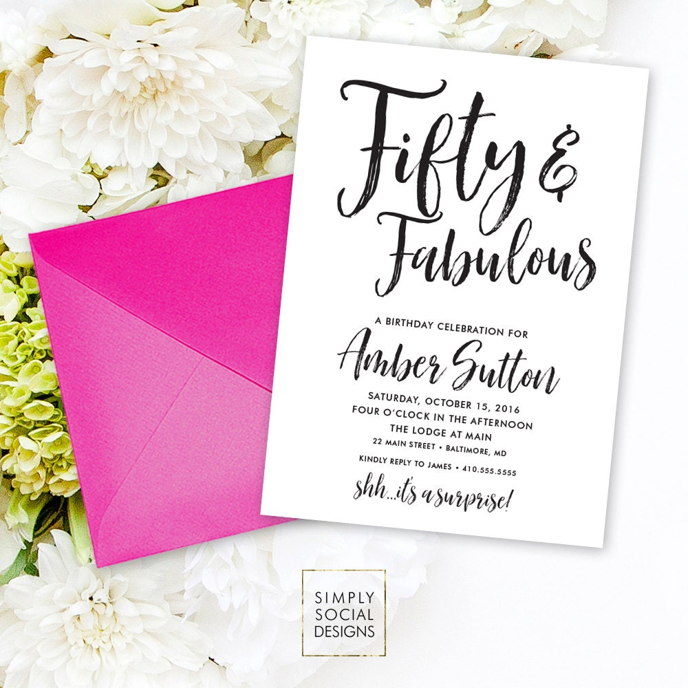 Surprise 50th Birthday Invitation - 60th 50th 40th 30th Fifty and ...