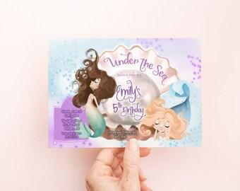 Mermaid Birthday Party Invitation - Under the Sea Birthday Invite - Swimming Party Invite - Mermaid Theme
