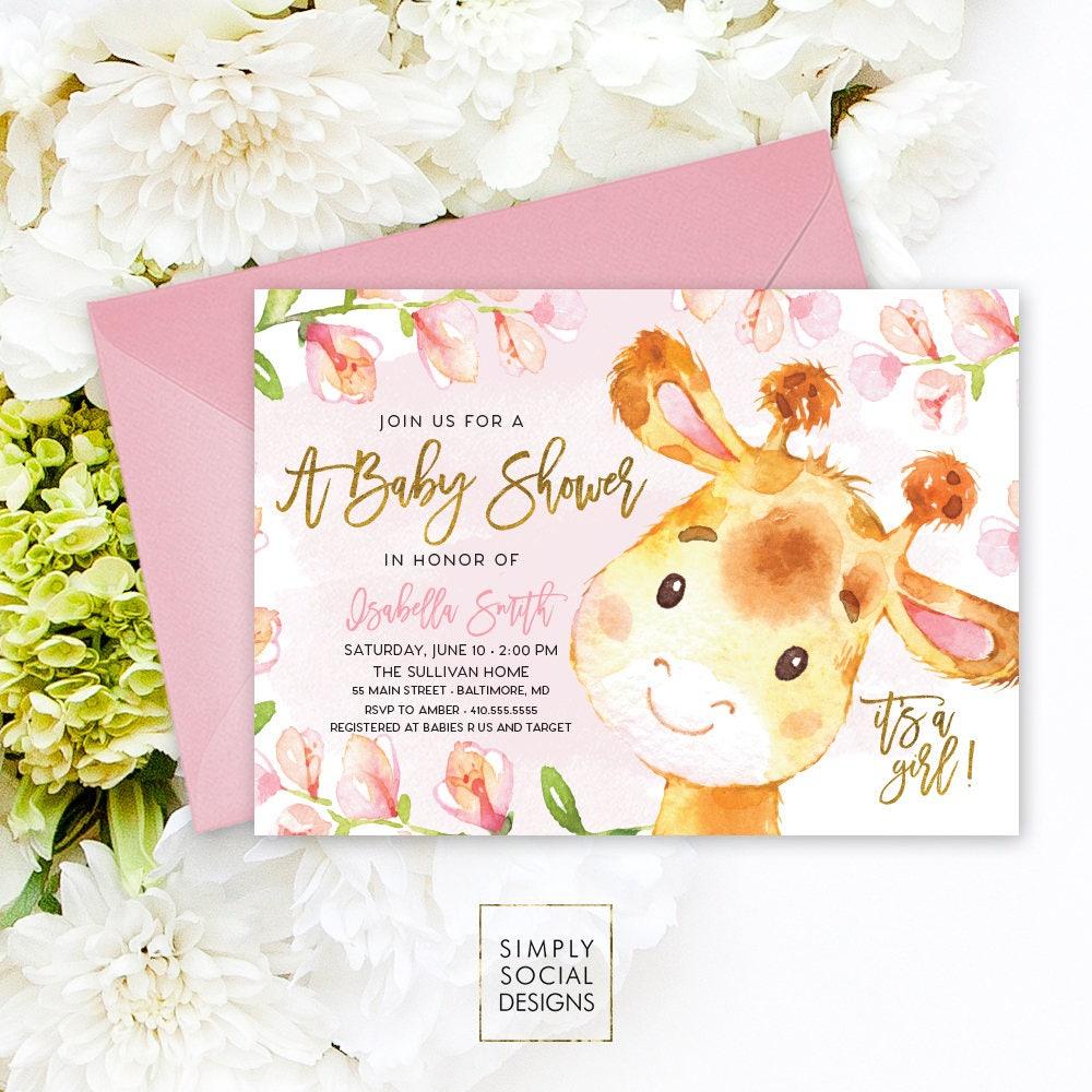 Giraffe Baby Shower Invitation - Floral Pink Boho April Giraffe It\'s ...