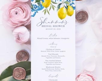 Lemon and Blue Tile Bridal Shower Printed Menu Cards - Portuguese Blue Tile and Lemon Bridal Shower Printed Menu Cards