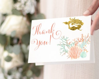 INSTANT DOWNLOAD - Under the Sea Mermaid Thank You Notes PRINTABLE