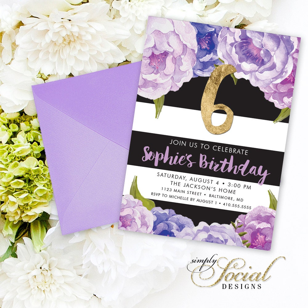 Floral birthday party invitation floral peony purple violet etsy zoom izmirmasajfo