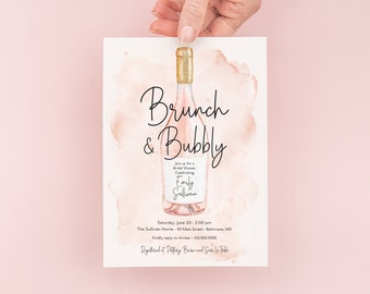 Brunch and Bubbly Bridal Shower Invitation - Champagne Brunch with the Bride - Bridal Luncheon - Bridesmaids Lunch - Brunch Invites