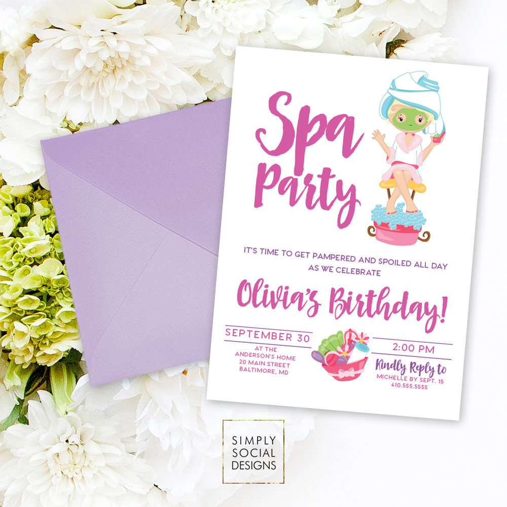 Kid\'s Spa Birthday Party Invitation - Spa Party Invite Nails and ...