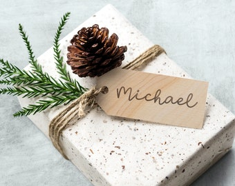 Personalized Wooden Stocking Tag, Custom Engraved Gift Tag, Wooden Tag Place Setting, Wooden Name Ornament, Engraved Stocking Tags, Wood Tag