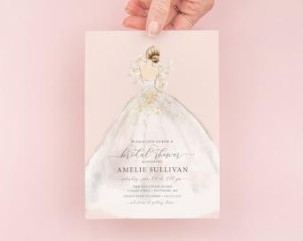 Wedding Dress Bridal Shower Invitations, bridesmaid luncheon, bridal luncheon invitation, bridal tea invite, bridesmaid brunch, Blonde Bride