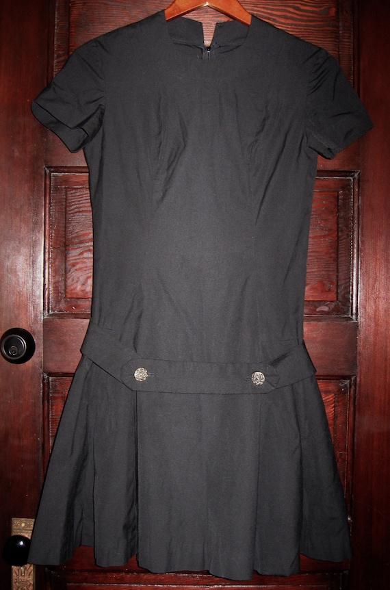 Vintage 1960s-70s Drop Waist Black Cotton Dress XS