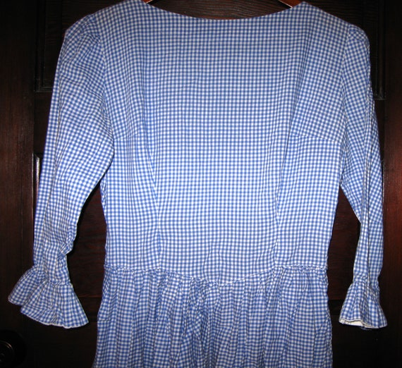 Vintage 1950s-60s Blue and White Gingham Dress 3/4