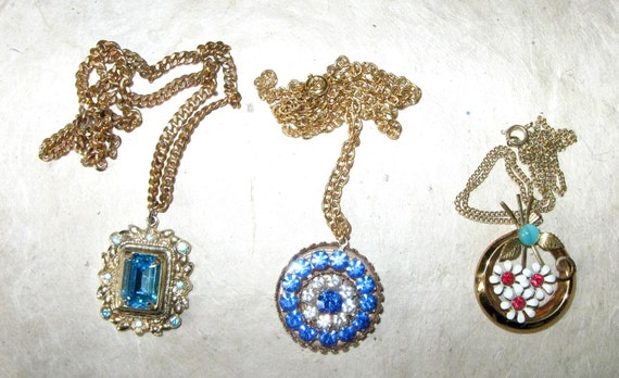 Be Charmed.... Three Vintage Coro Necklace Pendant