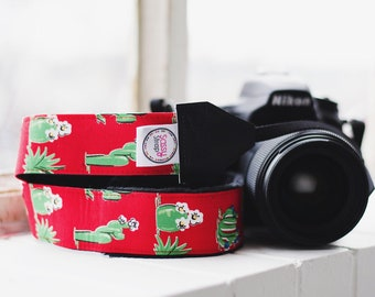 Camera Strap - DSLR Camera Strap - Red Camera Strap - Photographer Gift - Nikon Strap - Canon Strap - Camera Accessory - Flowering Cactus