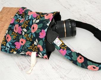 DSLR Camera Strap // Camera Bag // Lens Cap Holder - Photographer Birthday Gift - Nikon Strap - Canon Camera - Peony (Navy)