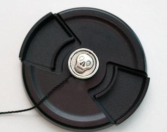 Camera Lens Cap Holder - Camera Accessories - DSLR Camera -  Lens Cap Leash - Lens Cap Strap- Photographer Gift - Long Face Skull