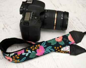 Camera Strap - DSLR Camera Straps - Canon - Nikon Camera - Sony Strap - Camera Accessories - Photographer Gift - Peony (Navy)