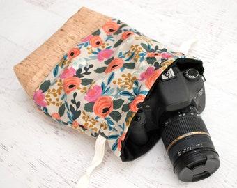 DSLR Camera Bag - Gift for Photographer Birthday - Makeup Bag - Canon Sack Camera Bag - Camera Bag Women - Cosmetic Bag - Peony (Natural)