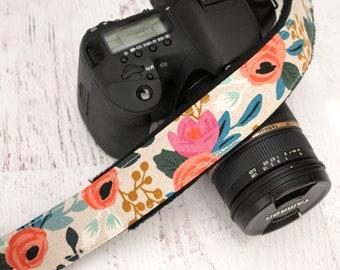 Camera Strap - DSLR Camera Straps - Canon - Nikon Camera - Sony Strap - Camera Accessories - Photographer Gift - Peony (Natural)