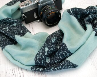 Scarf Camera Strap - DSLR Camera Strap - Gifts for Photographer Birthday - Canon Camera Strap - Blue Lace Scarf