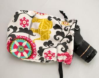 DSLR Camera Bag - Camera Straps - Canon Sack Camera Bag- Camera Bag for Women - Camera Bag Purse - Menagerie Elephant