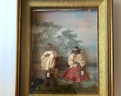Folk Art Diorama - Man with Violin and Woman with Baby - Painted Red Clay Figural Pottery - Shadowbox Vintage People in Native Costumes