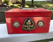 Red Tin Royal Bank - Made in Japan by ASC Aoshin Shoten Co - Bright Blue Interior - Vintage Childrens Box with Combination Lock
