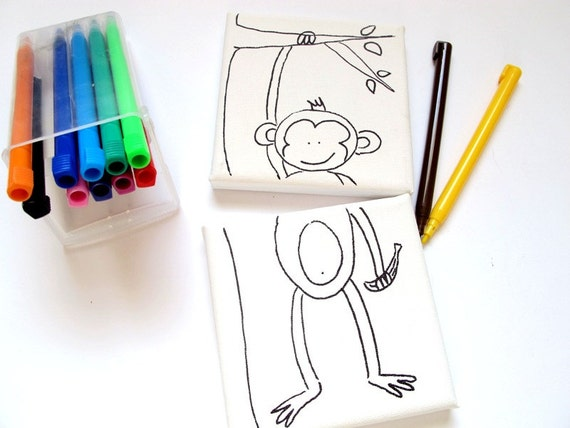 Los cabritos DIY mini lona para colorear juego-mono niños | Etsy
