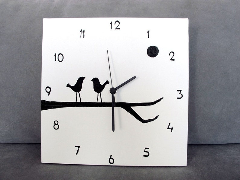 Orologi Da Parete In Tela : Orologio da parete orologio bianco e nero di uccelli etsy