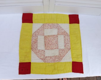 "vintage cut quilt piece, vintage tattered quilted square, old shabby quilt square, handquilted square 14-1/2"", salvaged piece from old quilt"