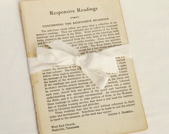 Vintage Pages Responsive Scripture Readings from 1938 Cokesbury Hymnal, Christian Responsive Readings, Bible Verses, Vintage Paper Ephemera