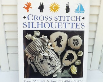 Cross Stitch Silhouettes pattern book, cross stitch embroidery charts silhouettes, over 350 charted motifs borders designs, needle art book