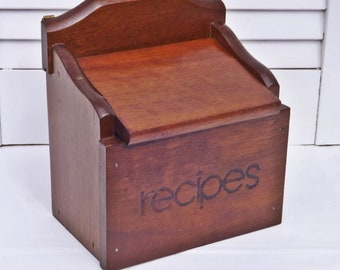 Vintage Wood Recipe Box with Hinged Lid, Old Fashioned Recipe File Box, Wood Box for Family Recipes, Kitchen Accessory, 1970s Box with Lid