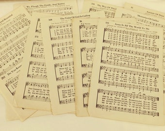 Old Hymn Book Pages, 1938 Cokesbury Worship Hymnal pages, Vintage Music Pages, Gospel Hymn Pages, Paper Ephemera for Scrapbook Journal Art