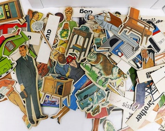 vintage flannel board pieces family community, vintage paper ephemera scrapbooking journaling crafts, 1960s storyboard paper cutouts, 1960s
