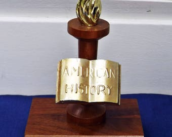 Vintage Trophy American History Award, Vintage School Trophy Wood Metal, Repurposed Trophy Bookend or Paperweight, Home School Student Award