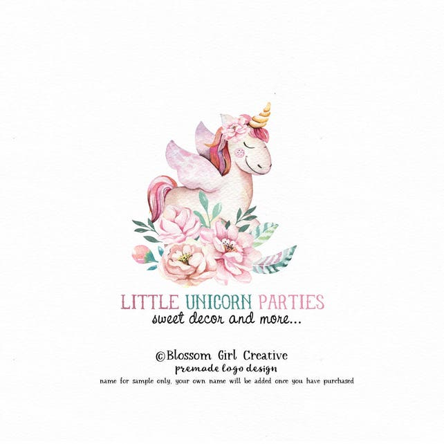 unicorn logo pegasus logo baby shop logo children's logo photography logo pre made logo party logo premade logo peony logo watercolor logo