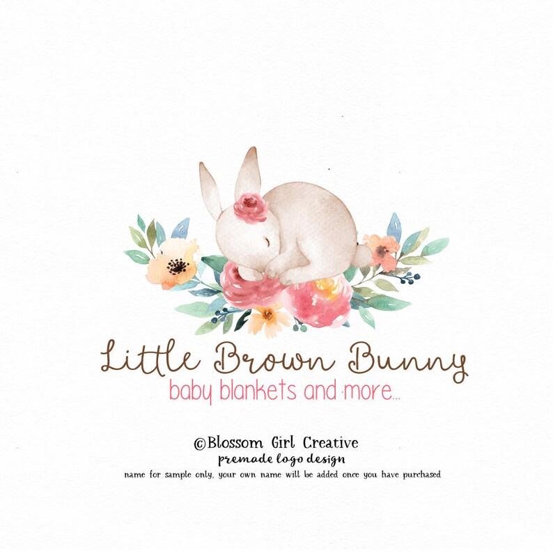 127e750b15721 bunny logo rabbit logo baby shop logo children's logo premade logo  photography logo pre made logo knitting shop logo crochet shop logo
