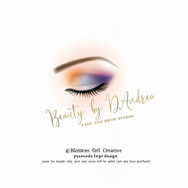 eyebrow logo microblading logo eyelash logo lashes logo beauty logo makeup  logo makeup artist logo eyeshadow logo premade logo branding