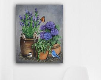Hydrangeas Sparrow Butterfly succulents Birds Garden Art Lavender Clay Terra Cotta Flower Pots Chickadees Original Art Bluebird