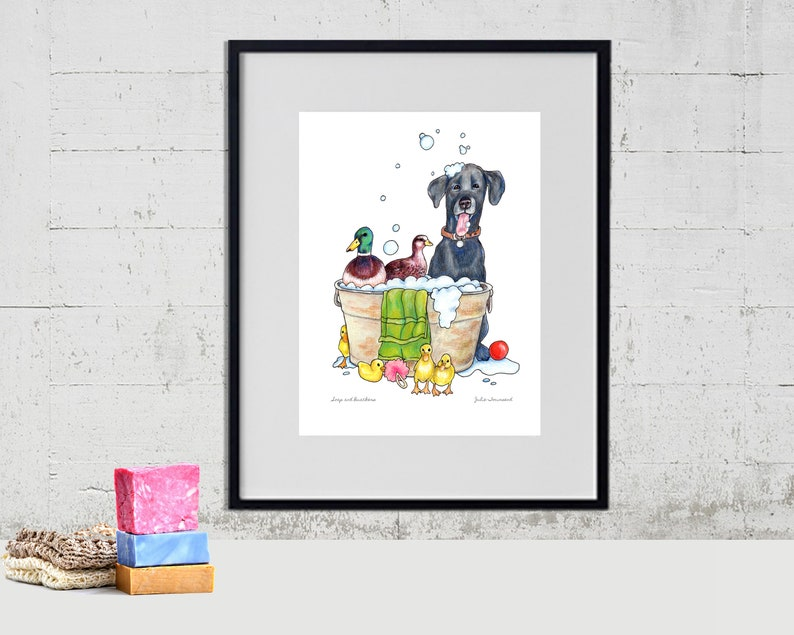 Ducks in the Wash Tub Art Print Black Labrador Dog Art Funny image 0