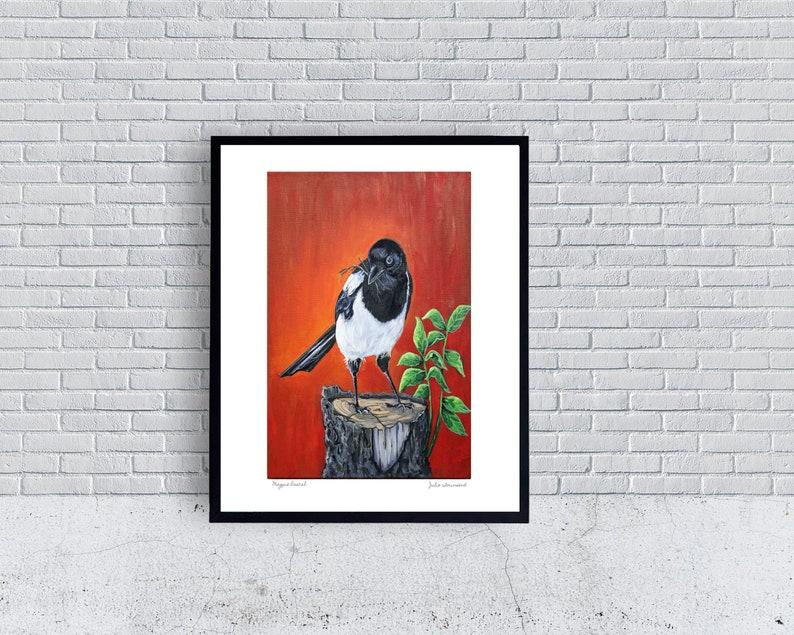 Magpie bird Art Print Magpie Print Birds Woodland bird image 0