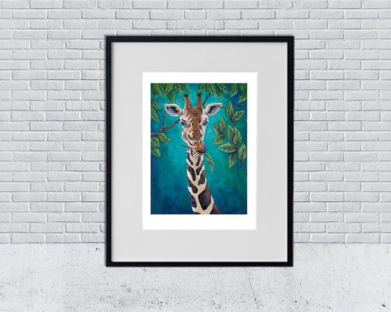 Giraffe Art Print Giraffe Reproduction Matte Print Animal image 0