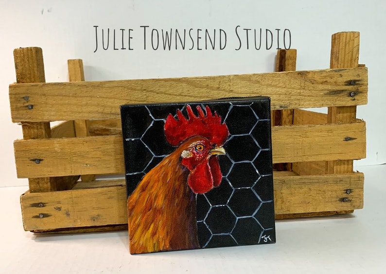 Rooster Art Rooster Painting Original Chicken art Rooster image 0