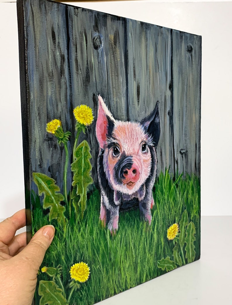 Pig in the Barn Pig Painting Original Pig art Pig Shelf image 0