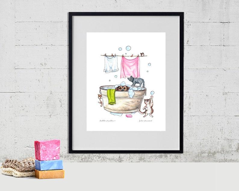 Laundry Art Wash Tub Art Print Dog Art Kitty Cat art Cat image 0
